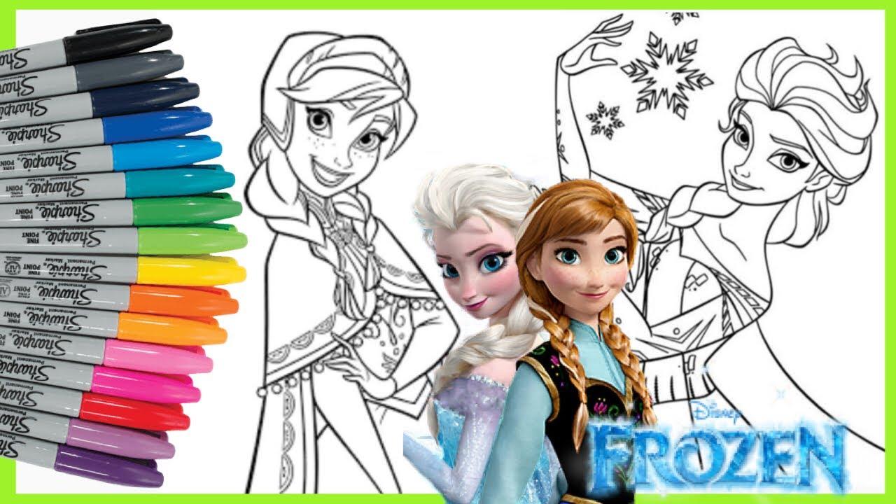 Mewarnai Elsa Dan Anna Frozen Coloring Elsa And Anna Frozen Coloring Book Youtube