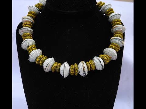 Paper bead  choker necklace (with yellow african beads ) Tutorial