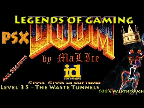 PSX Doom (GZDoom) 100% Walkthrough - Map 35 The Waste Tunnels |