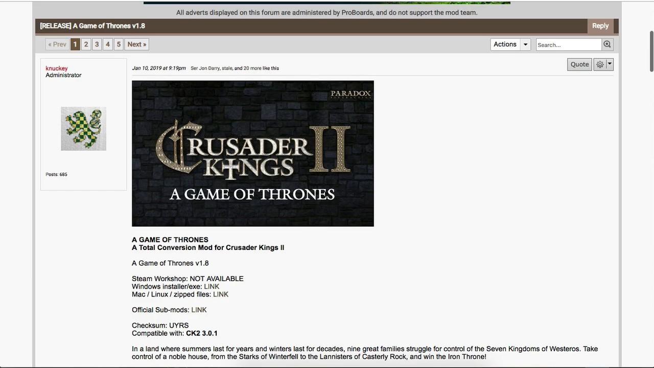 Mac Tutorial Game of Thrones Mod v1 8 Download for Crusader Kings 2
