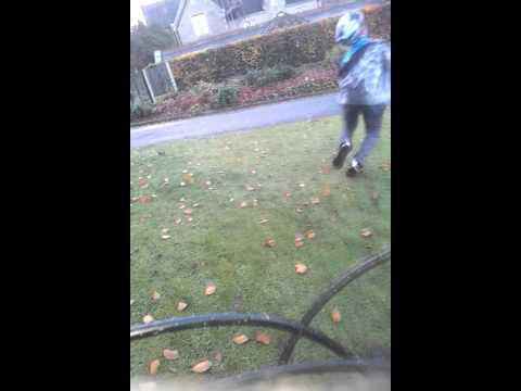 Ben falling off his bike in oak hill park