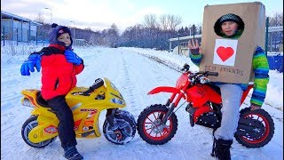 Funny Video For Children Baby Ride on Dirt Cross Bike Power Wheel Hide and Seek in Box