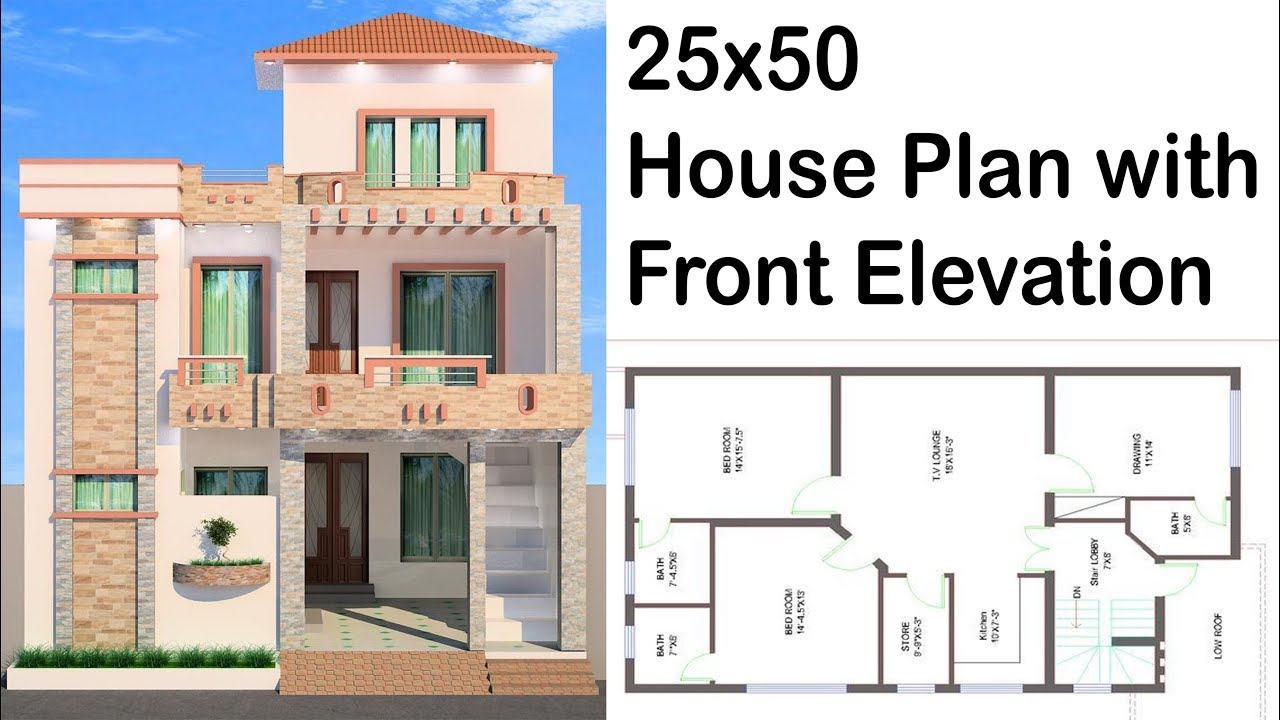 25x50 House Plan With Front Elevation