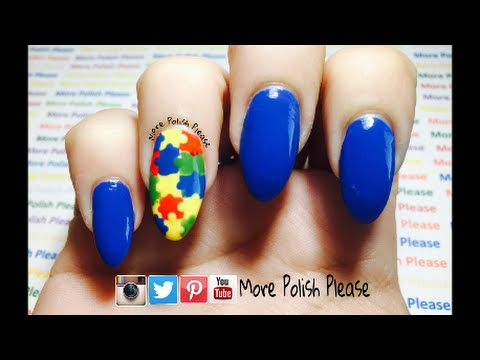 Autism awareness nail art design youtube prinsesfo Images