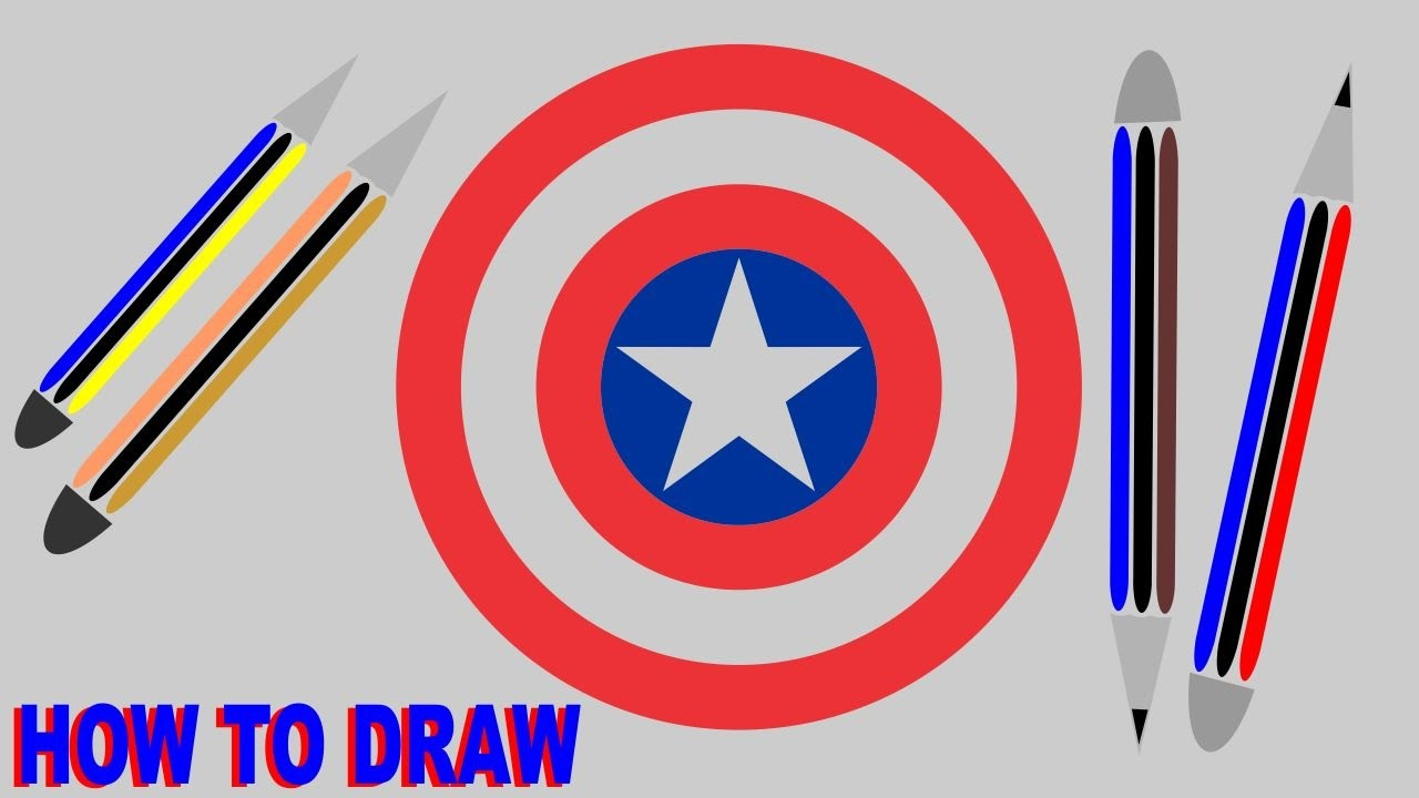 Captain America Shield Drawing: How To Draw Captain America Shield