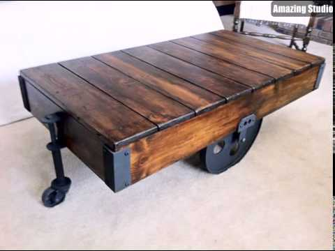Restoration Hardware DIY Factory Cart Coffee Table