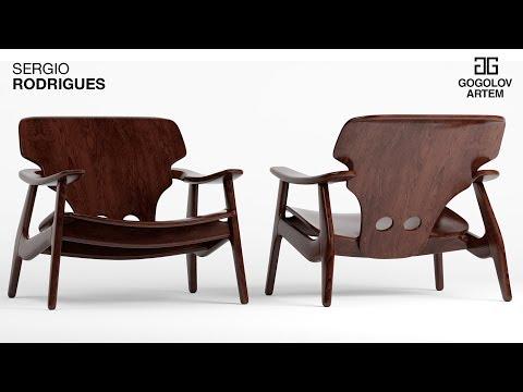 """№43. Моделирование кресла """"Cadeira Diz Sergio Rodrigues"""" в 3d Max."""