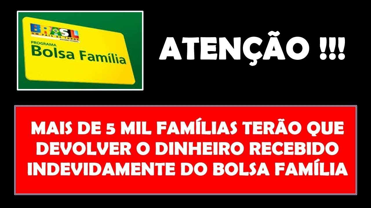 Resultado de imagem para DEVOLUÇÃO BOLSA FAMILIA