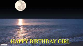 Girl  Moon La Luna - Happy Birthday
