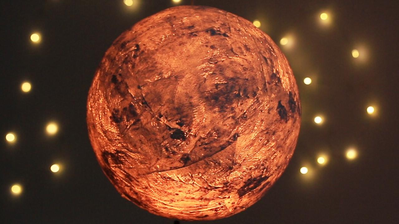 Papier Maché Moon Lamp
