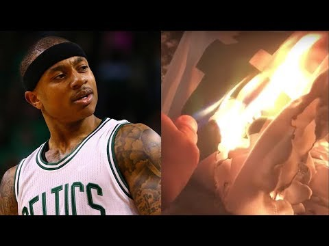 best sneakers 02674 3b716 Celtics Fans BURN Isaiah Thomas Jerseys After Kyrie Irving Trade
