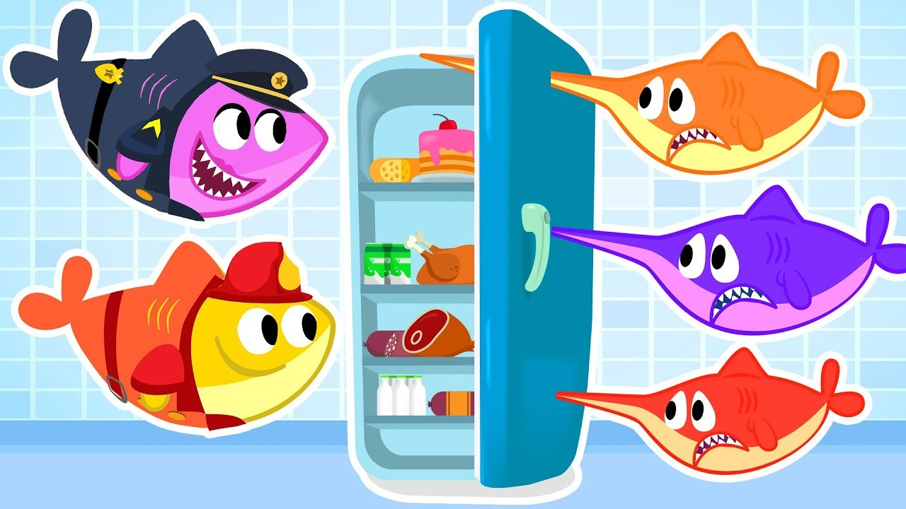 5 little Baby Swordfish Jumping on the Bed - Baby Shark Cartoon & Songs  Compilation