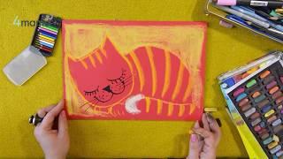 Уроки рисования. Уроки рисования для детей. Учимся рисовать кошку с художницей Ольгой Адам