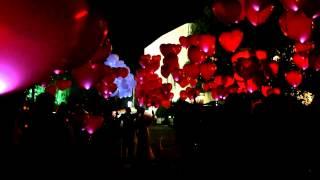 Шикарный запуск воздушных светящихся шаров на свадьбу