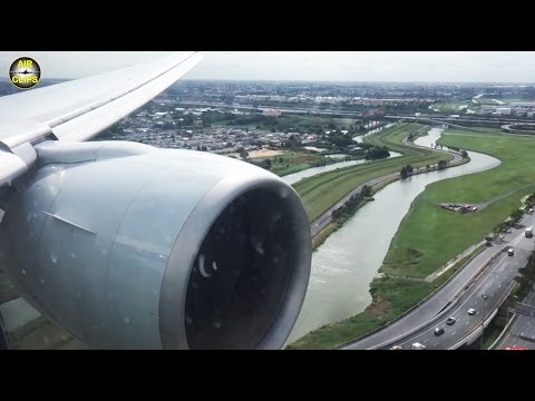 MASSIVE Boeing 777-300ER engine on approach into Bangkok: Jet Airways, India!  [AirClips]