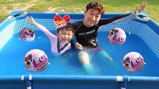 거대 젤리베프 gelli baff 수영장을 만들다  lil sisters 서프라이즈  장난감 찾기 대결