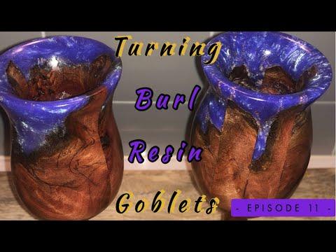 Wood Turning Burl/ Resin Goblets