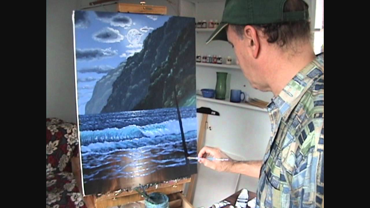 17 Come dipingere una spiaggia e le montagne e la luce della luna  YouTube
