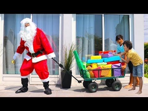 Santa brings presents in July !! Kids pretend play ,fun video for kids