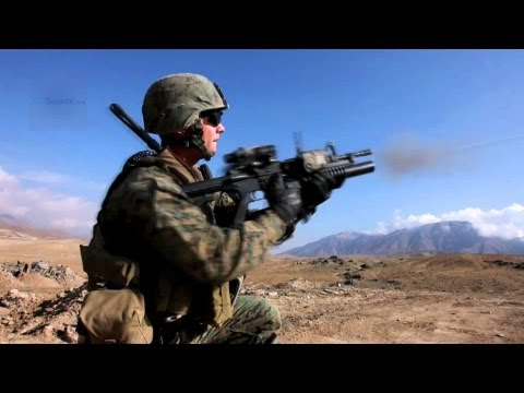 U.S. Marines Fire M203 Grenade Launchers