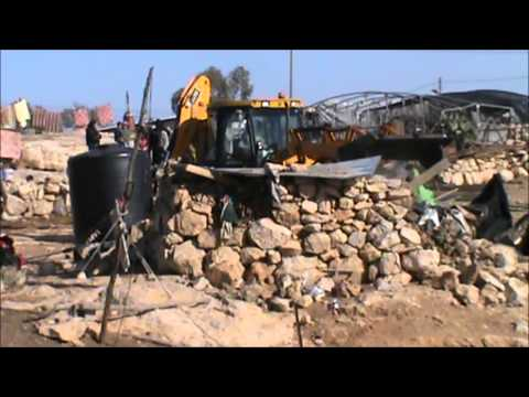 Demolitions by IOF in Umm Al Hair and Hawara, south Hebron hills 14.1.2013