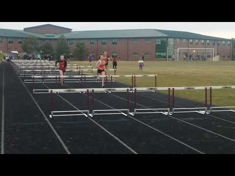 2018 Hannah Bilodeau running the 100m hurdles at Stephen Mack Middle School