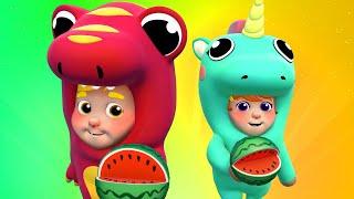 Eating Fruits Song 🎷Banana Watermelon & Kiwi Children Music Karaoke 🎤 One Zeez Nursery Rhymes