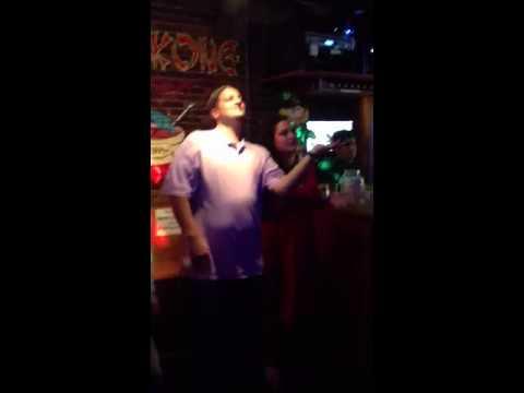 Matty singing karaoke at the Hong Kong