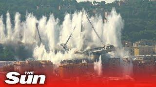 Genoa's Morandi bridge destroyed in six-second controlled explosion