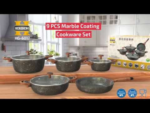HERZBERG HG-6017; COOKWARE SET IN MARBLE COATING 9PCS