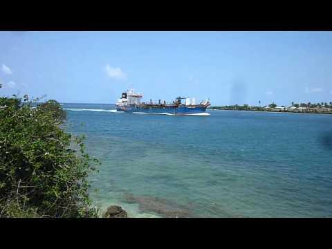 Cargo ship entering Mombasa harbour, Kenya