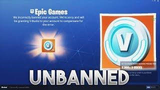 Fortnite Unbanned me and Gave me vBucks! :D