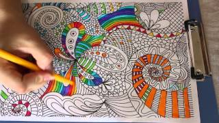 011 Rainbow colourful doodle Colouring page Pelax colouring