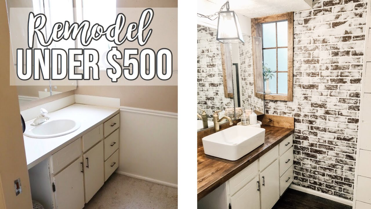 BATHROOM REMODEL UNDER $500 🔨 - YouTube