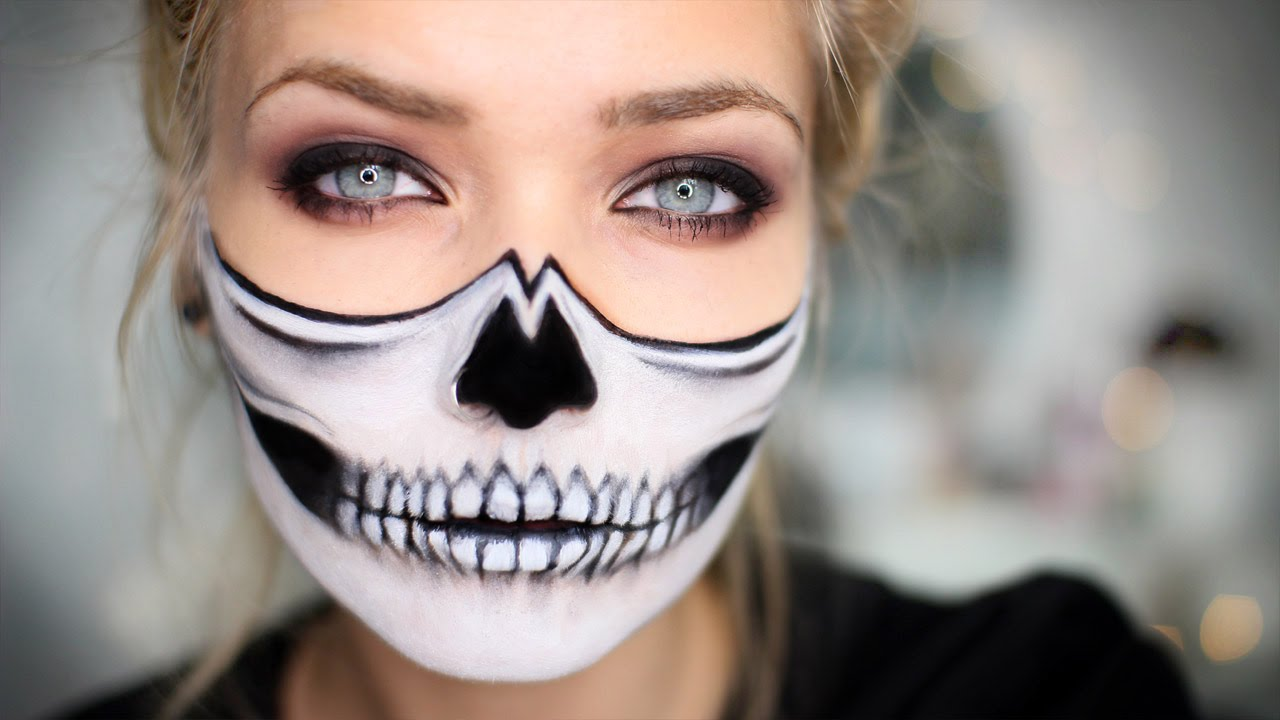 half skull halloween makeup tutorial youtube