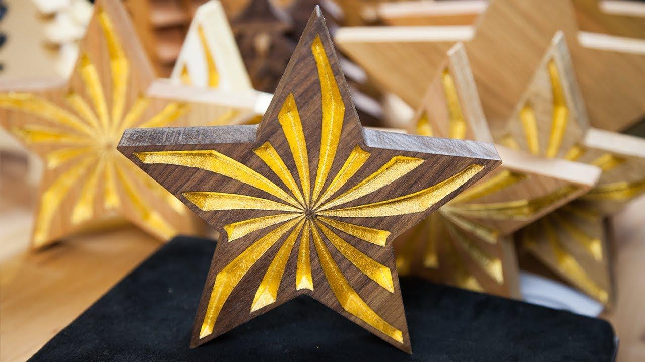weihnachtsstern walnuss vergolden mit 24 karat blattgold. Black Bedroom Furniture Sets. Home Design Ideas