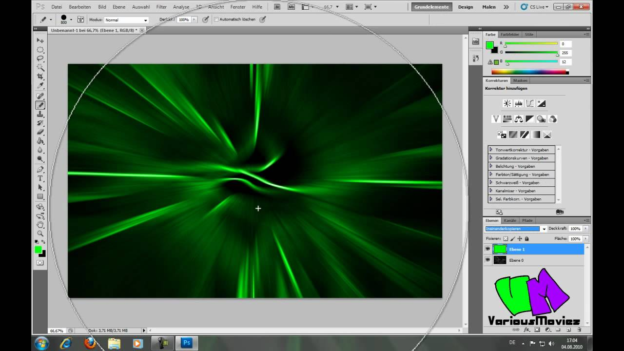 Photoshop cs5 green wallpaper erstellen deutsch german youtube - Wallpaper erstellen ...