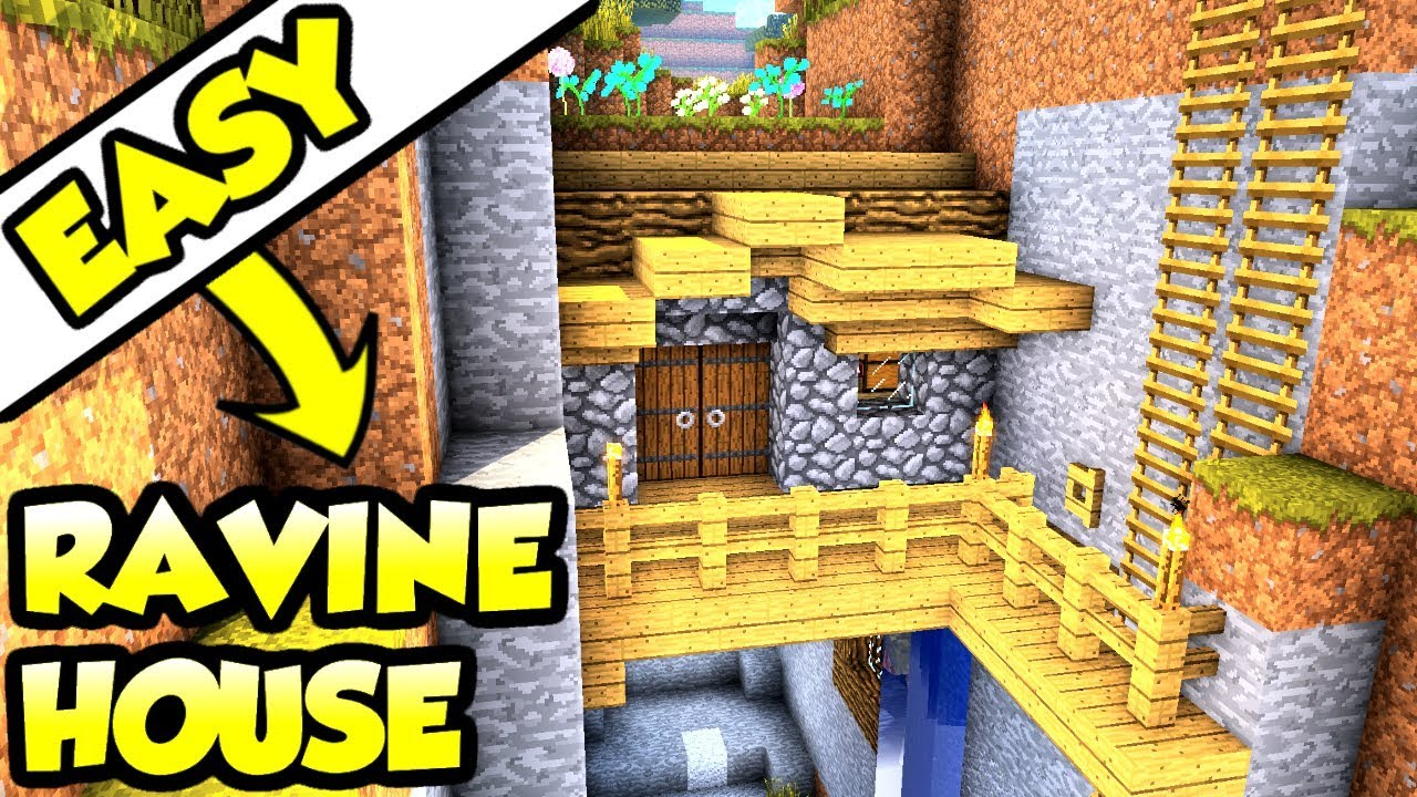 Minecraft tutorial advanced ravine house build youtube for What is needed to build a house