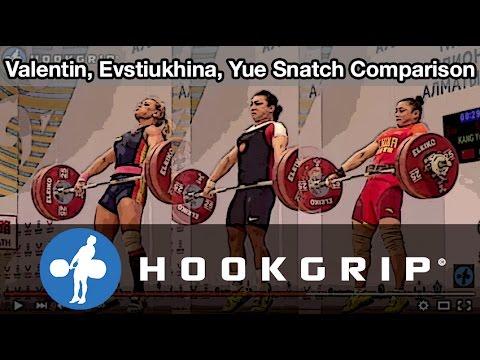 Lydia Valentin, Nadezhda Evstiukhina, Kang Yue (75) - Snatch Comparison @ 2014 Worlds