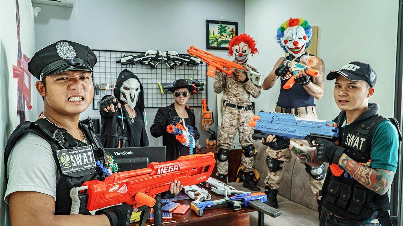 LTT Films : Captain S.E.A.L X Nerf Guns Fight Crime Group Black Demon Mask Flatten All