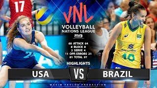 USA vs Brazil | Highlights | Women's VNL 2019