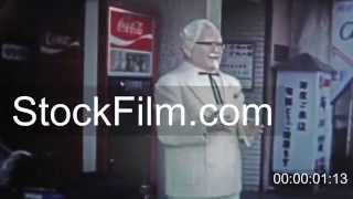 1973: Kentucky Fried Chicken (KFC) with colonel sanders life sized statue. TOKYO, JAPAN