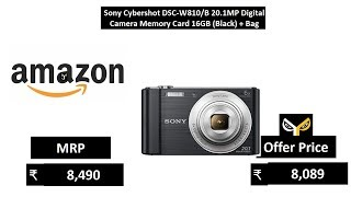 Sony Cybershot DSC-W810B 20.1MP Digital Camera Memory Card 16GB (Black) + Bag
