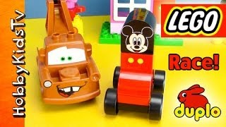 PLAY-Doh Disney Cars LEGO Mater, Mickey Mouse Toys RACE! [Box Open] [Duplo]