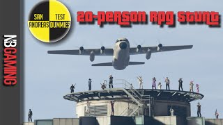 One of N&B Gaming's most viewed videos: GTA5 20 Person RPG Stunt - San Andreas Test Dummies Ep. 42 - GTA5 Funny Moments and Stunts