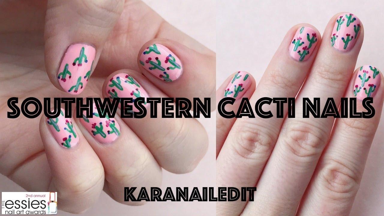 SOUTHWEST CACTI NAIL ART | karanailedit | the essie\'s top 10 entry ...
