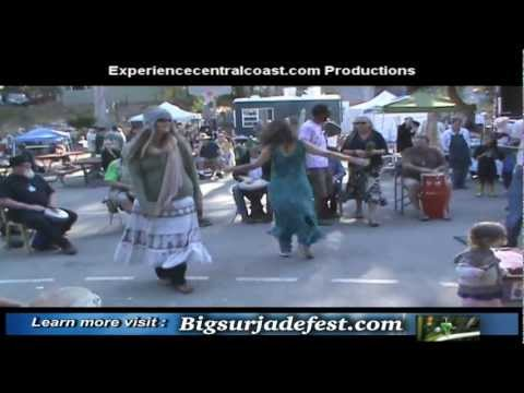 Annual Big Sur Jade Festival morning wake-up call a drum in everyone is welcomed