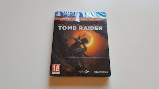 Shadow of the Tomb Raider LIMITED STEELBOOK EDITION PS4 Unboxing