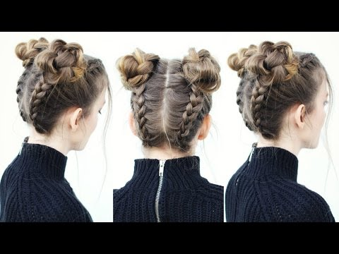 Upside Down Braid Into Braided Space Buns
