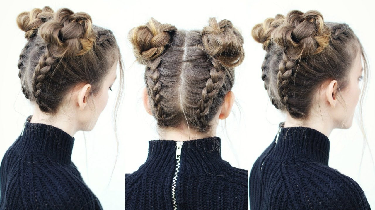 Upside Down Braid Into Braided Space Buns Braided Hairstyles